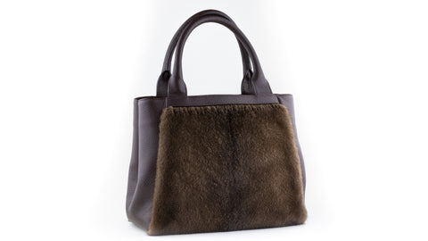 Shopping - Borsa Visone + Pelle Demi + Marrone
