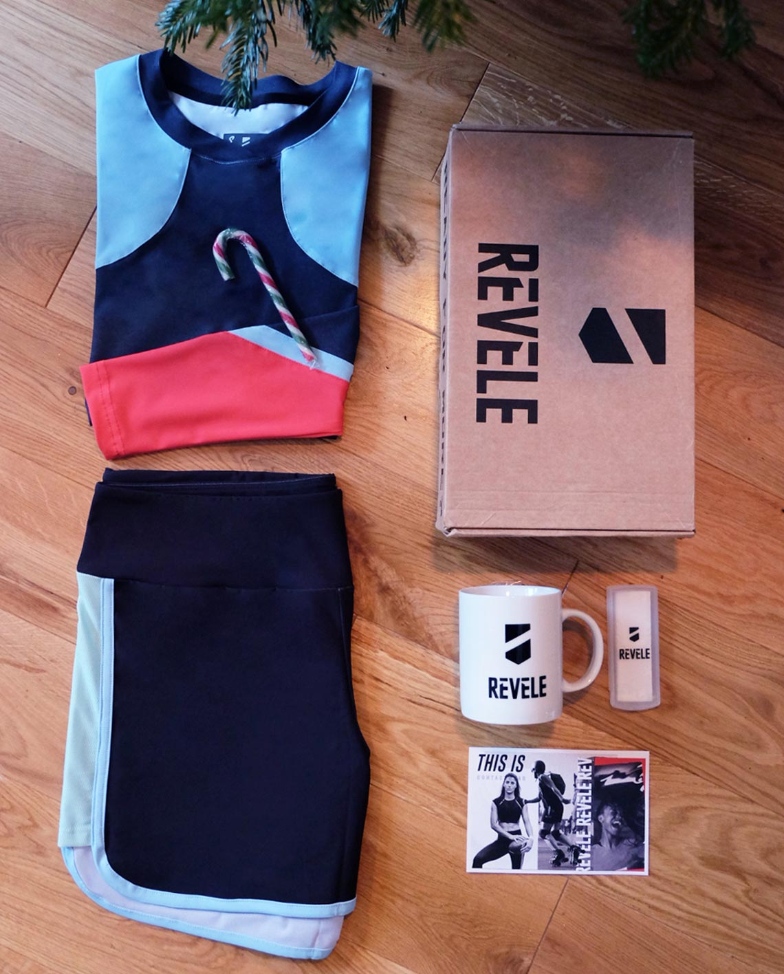 christmas box with baselayer and shorts