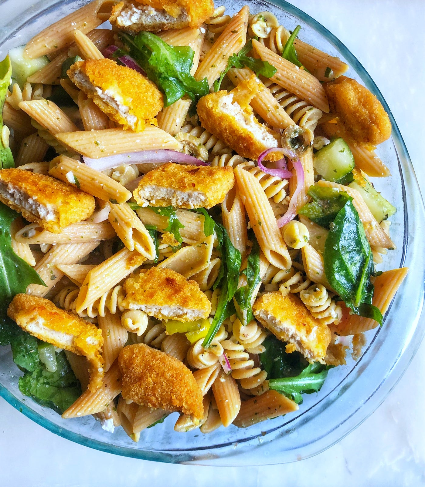 Mediterranean Chicken Pasta Salad | Home Meat Delivery | Crescent Foods Nuggets