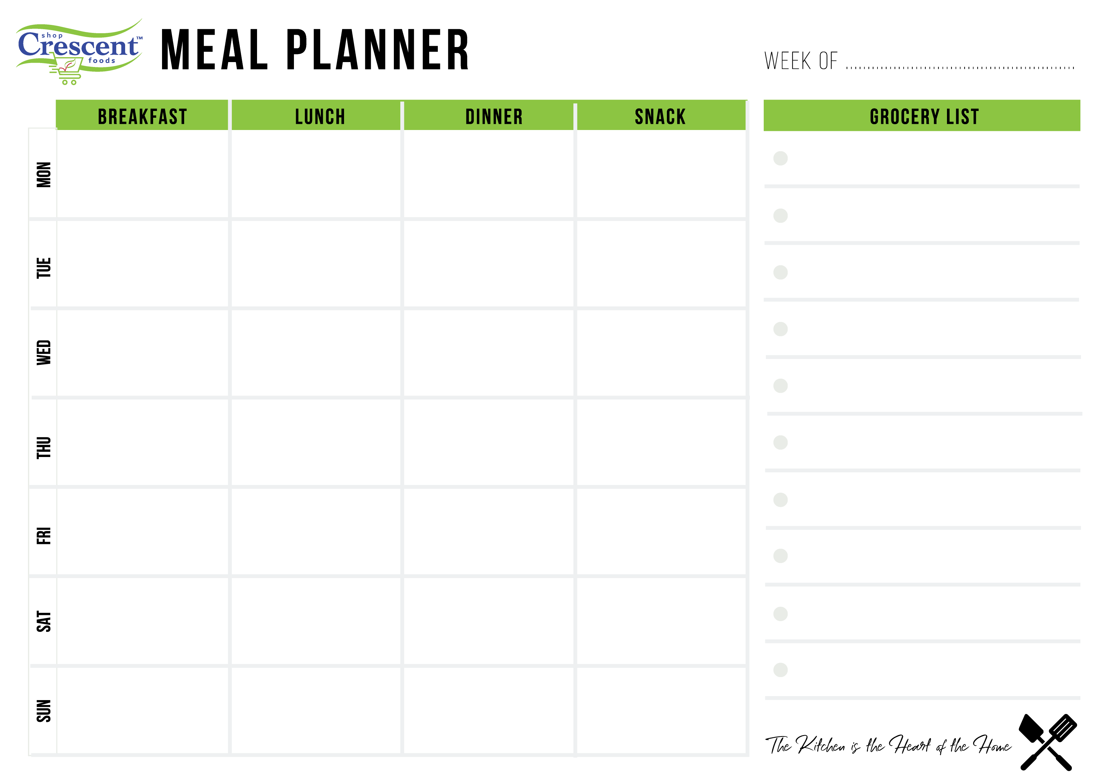 Crescent Foods Meal Plan Calendar | Home Meat Delivery