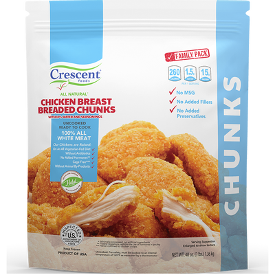 Crescent Foods All Natural Chicken Breast Breaded Chunks  | Home Meat Delivery