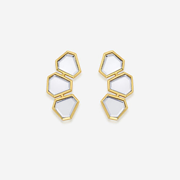 Ayaana Mini Triple Mirror Stud Earrings