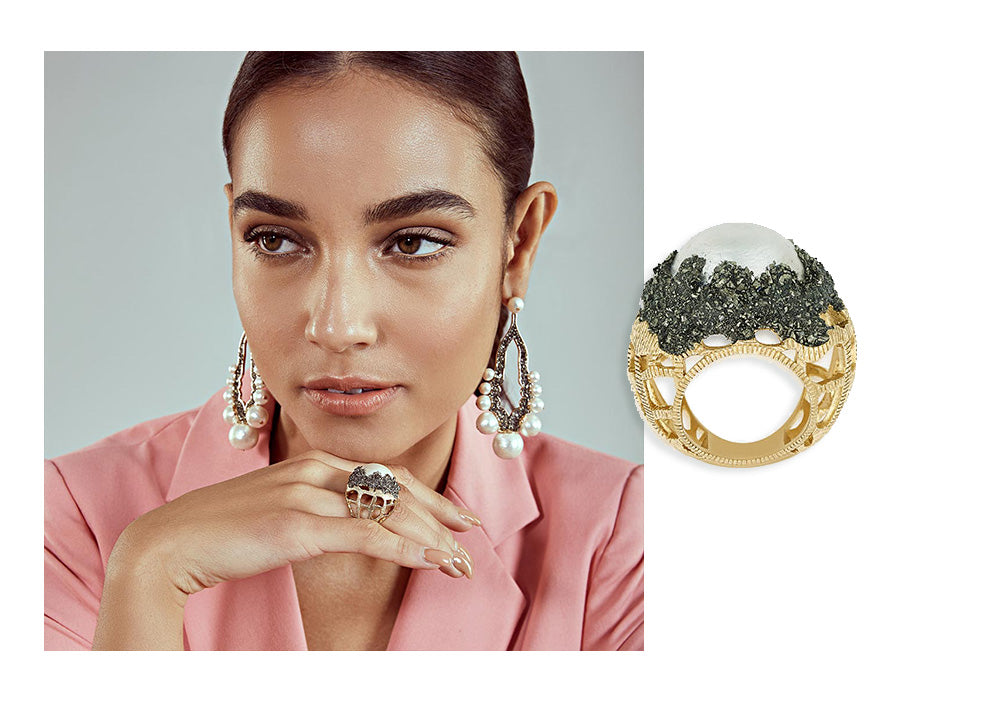 Fool's Gold Textured Metal Royalty Ring - Modern Cocktail Rings - 003