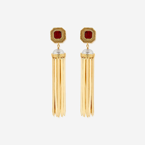 Indian Jewelry Trends for Summer - Noor Marsala Statement Fringe Earrings