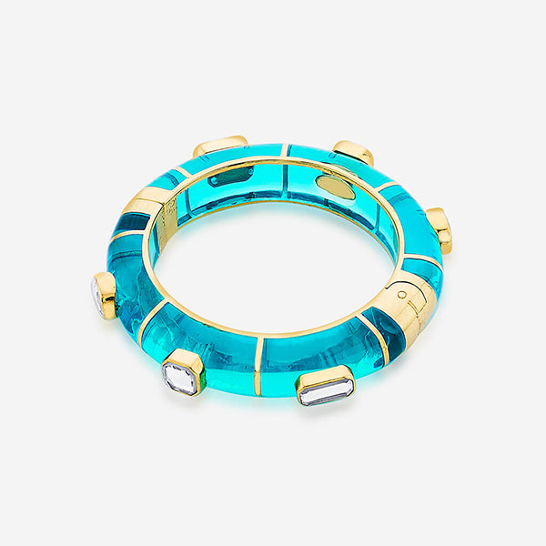 Indian Jewelry Trends for Summer - Noor Teal Hinged Bangle 2