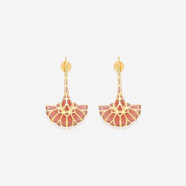 Indian Jewelry With the Hottest Fall 2019 Color Trends - Orange - La Conchita Long Fan Earring in Coral