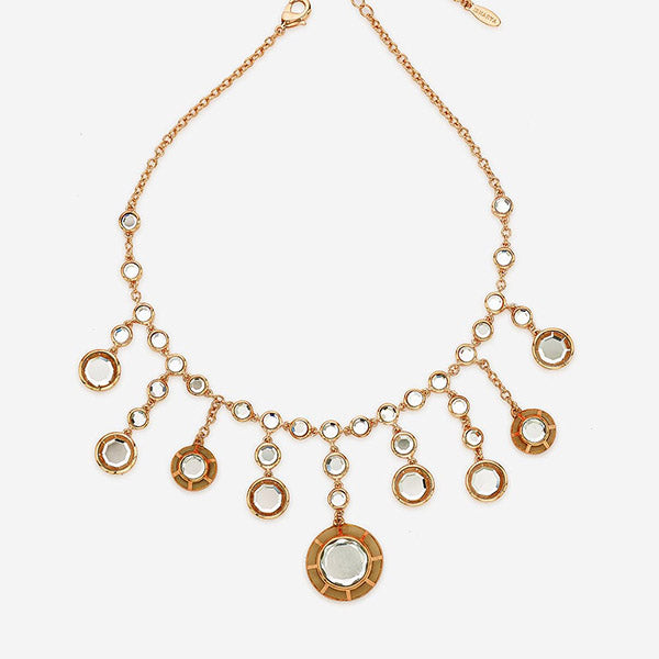 Indian Jewelry With the Hottest Fall 2019 Color Trends - Orange - Renaissance Rani Clear Mirror Choker Necklace
