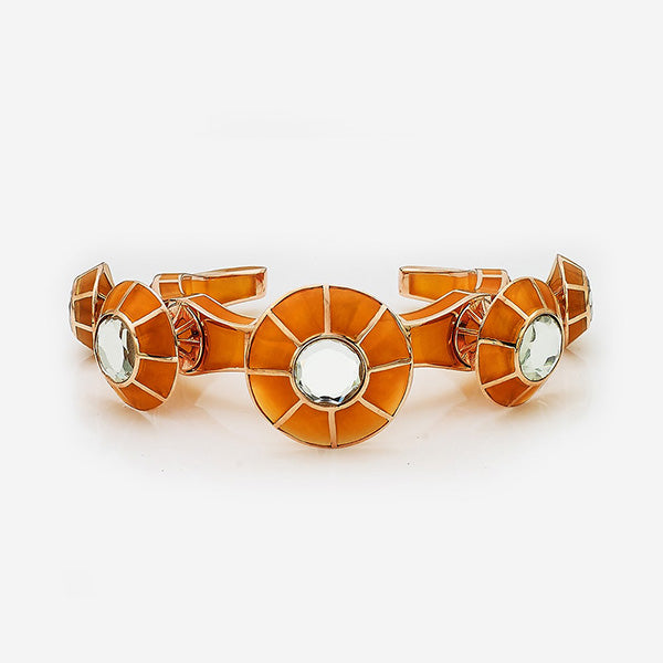Indian Jewelry With the Hottest Fall 2019 Color Trends - Orange - Renaissance Rani Mustard Dramatic Cuff In Rose Gold