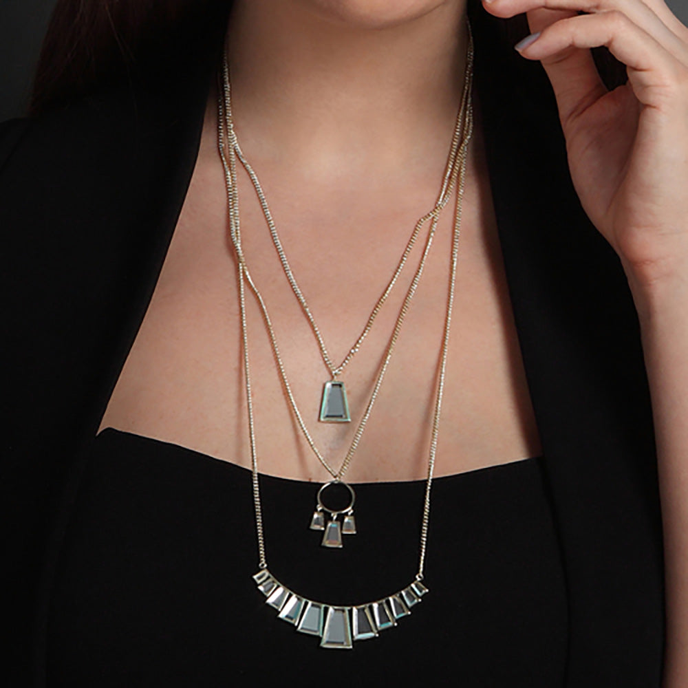 Layered Necklace Trend - Angel Dust Baguette Mirror Layer Necklace - 003