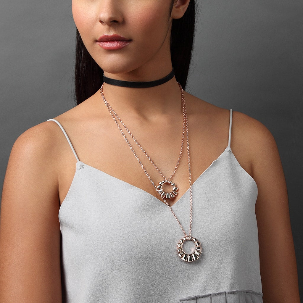 Layered Necklace Trend - Bombay Deco Layered Mirror Choker Necklace - 001