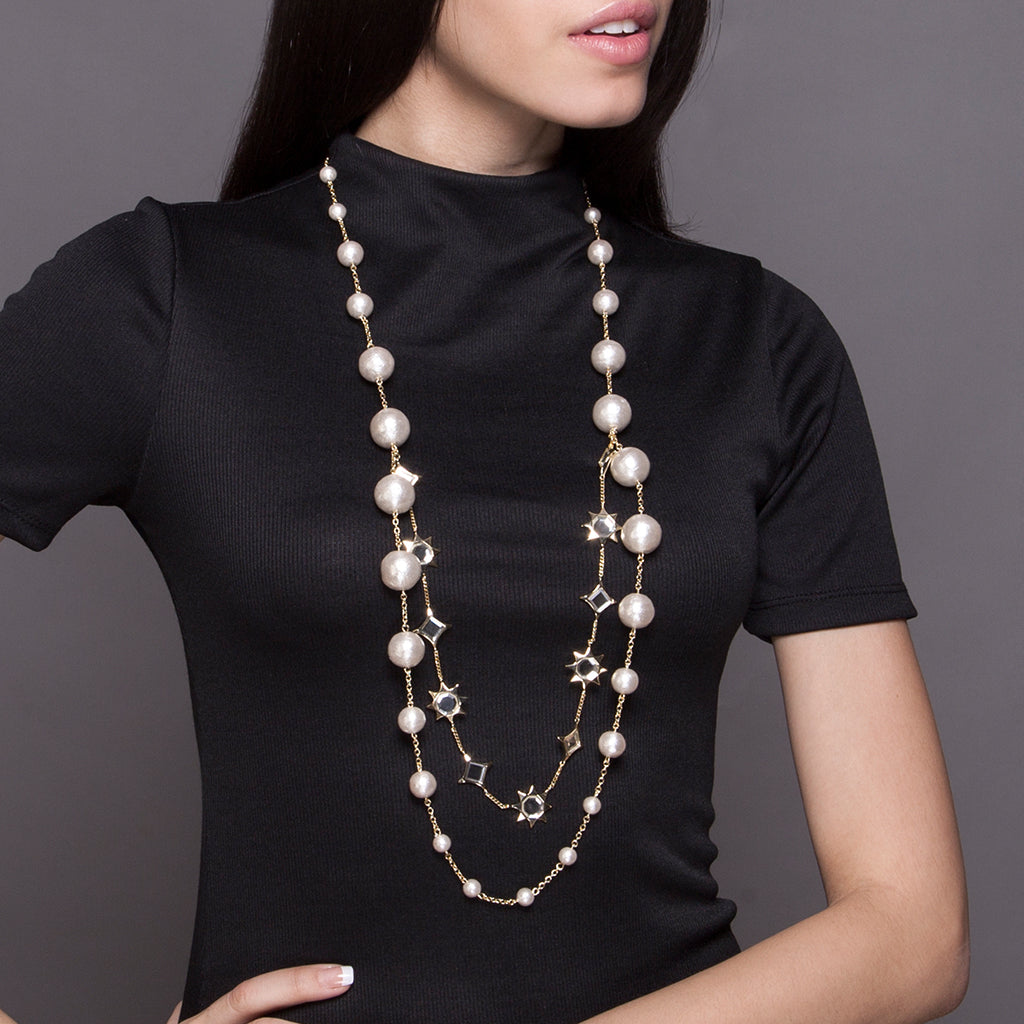 Layered Necklace Trend - Celeste Mirror Long Necklace - 001