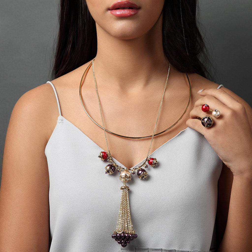 Layered Necklace Trend - Empress Warrior Multi Color Pearl Tassel Necklace - 001
