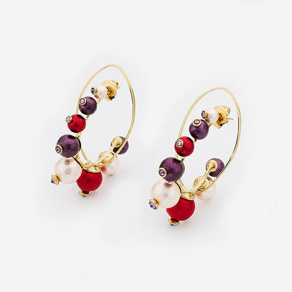 Luxe Fall Jewelry Trends - Jewel Tones - Empress Warrior Multi Color Pearl Hoop Earrings