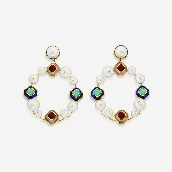 Luxe Fall Jewelry Trends - Jewel Tones - Noor Pearls & Multicolour Stone Statement Earrings 2