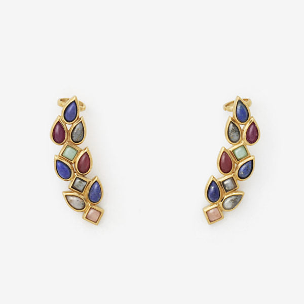 Luxe Fall Jewelry Trends - Jewel Tones -Temple Muse Gemstone Earcuff Earrings