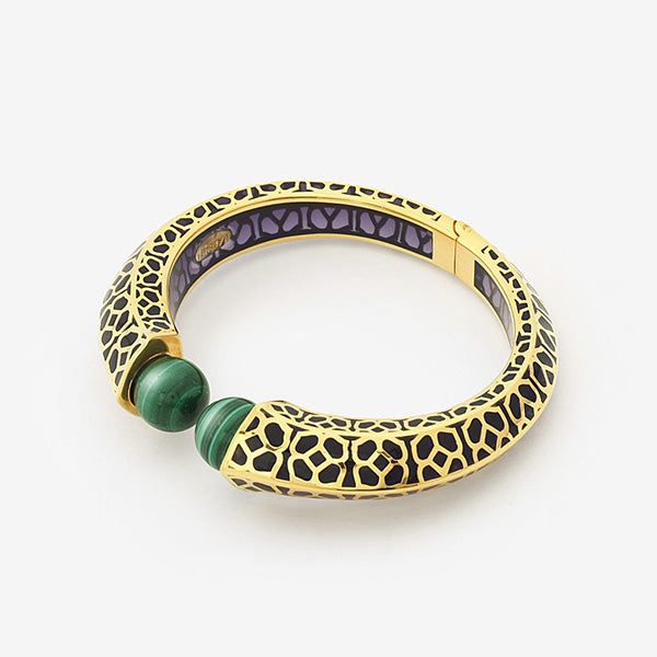 Luxe Fall Jewelry Trends - Jewel Tones - cuff - Temple Muse Green Malachite Purple Resin Cuff
