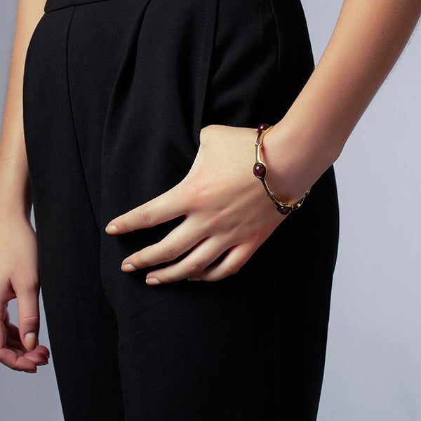 Luxe Fall Jewelry Trends - Jewel Tones - cuff - Temple Muse Marsala Quartz Stackable Bangle 2
