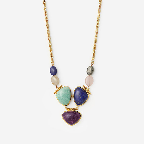 Luxe Fall Jewelry Trends - Jewel Tones - necklace - Temple Muse Gemstone Statement Necklace