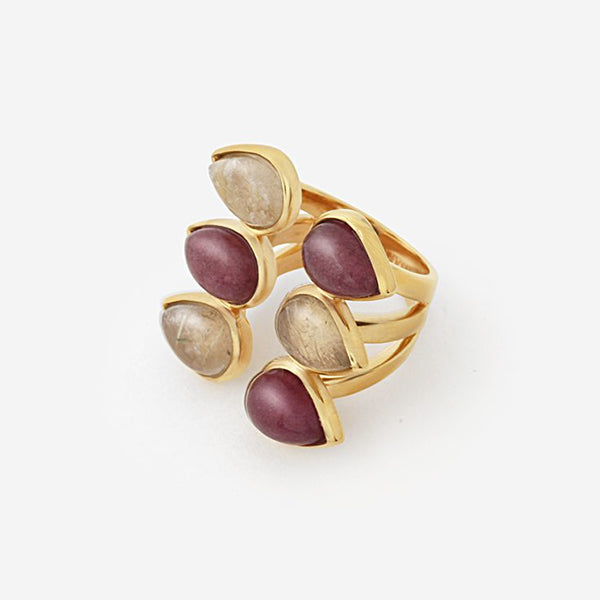 Luxe Fall Jewelry Trends - Jewel Tones - rings - Temple Muse Marsala Quartz Multistone Ring