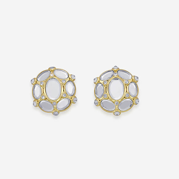 Modern-Indian-Earring-Limelight Oval Mirror Stud Earrings 2