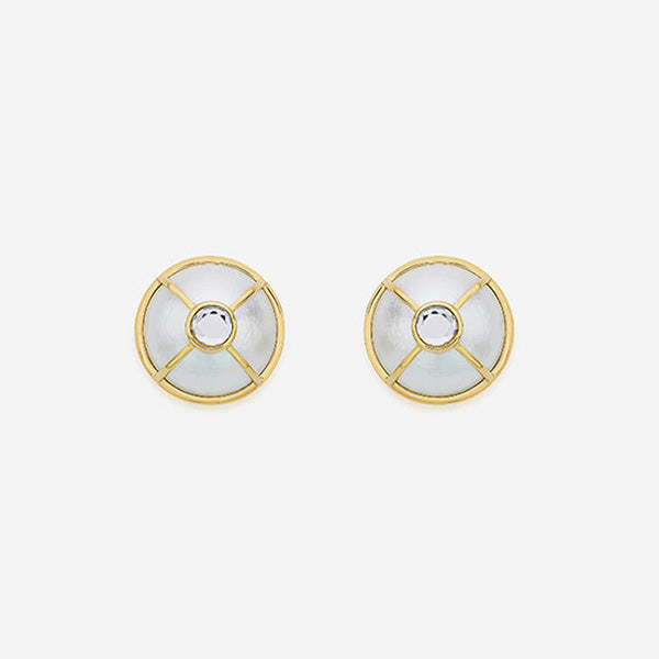 Modern-Indian-Earring-Trend- Ayaana Mirror and Pearl Stud Earring