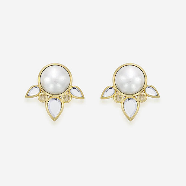 Modern-Indian-Earring-Trend- Limelight Pearl & Mirror Flutter Stud Earrings