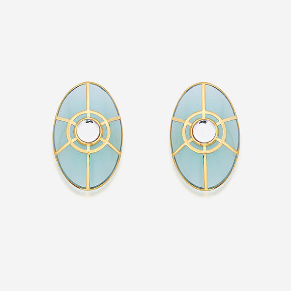 Modern-Indian-Earring-Trend-Studs - Ayaana Statement Stud Earring in Amazonite