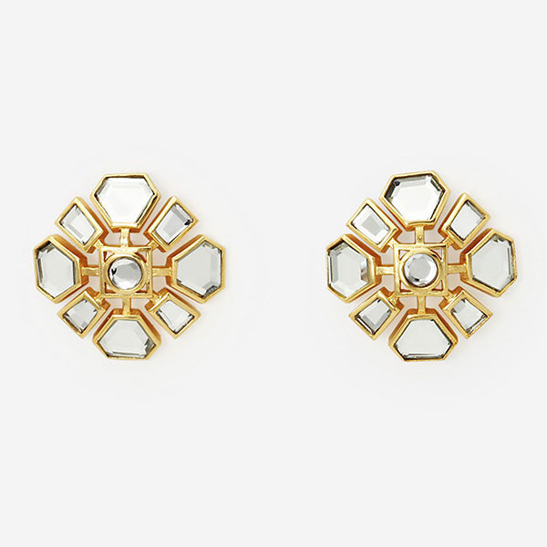 Modern-Indian-Earring-Trend-Studs-Deco Mirror Cluster Earring