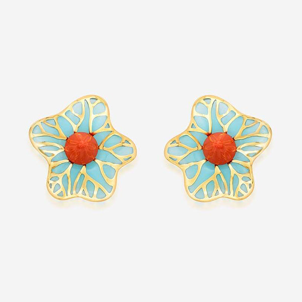 Modern-Indian-Earring-Trend-Studs - La Conchita Abstract Floral Stud Earrings in Turquoise