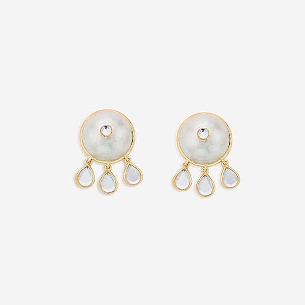 Modern-Indian-Earring-Trend-Studs-Mandala Pearl and Mini Mirror Drop Stud Earrings 2