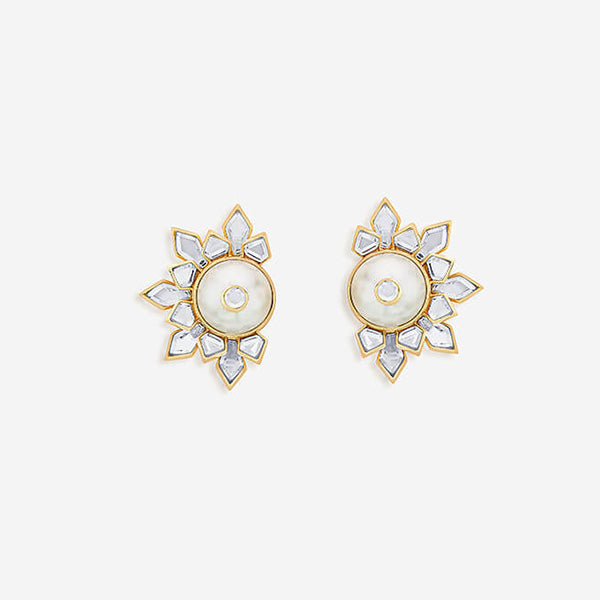 Modern-Indian-Earring-Trend-Studs-Mandala Pearl and Mirror Spikes Stud Earrings