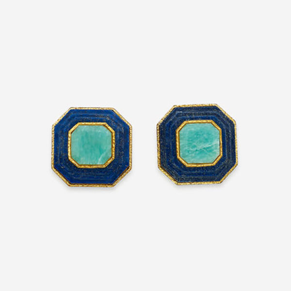 Modern-Indian-Earring-Trend-Studs - Noor Lapis Stud Earrings