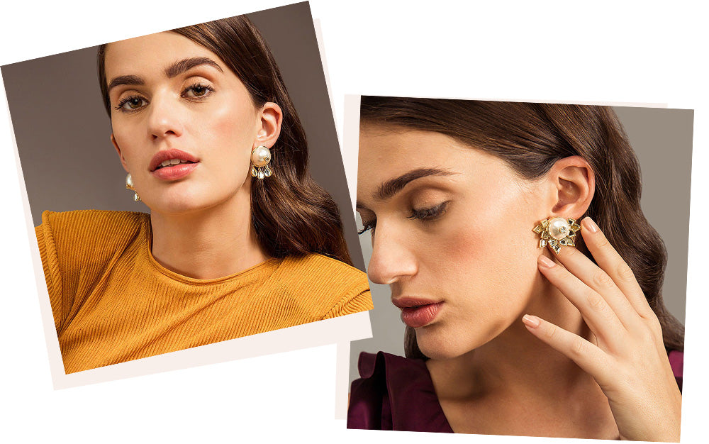 Modern-Indian-Earring-Trend-Studs - PEARLS