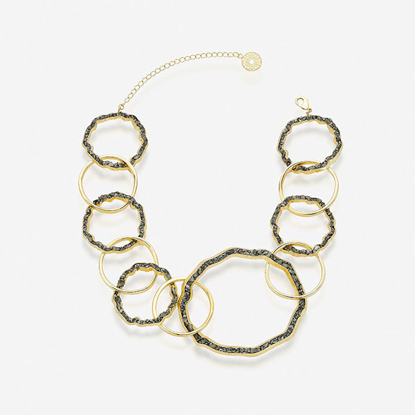 Modern Indian Fool's Gold Jewelry - Necklaces - Fool's Gold Linked Statement Collar Necklace