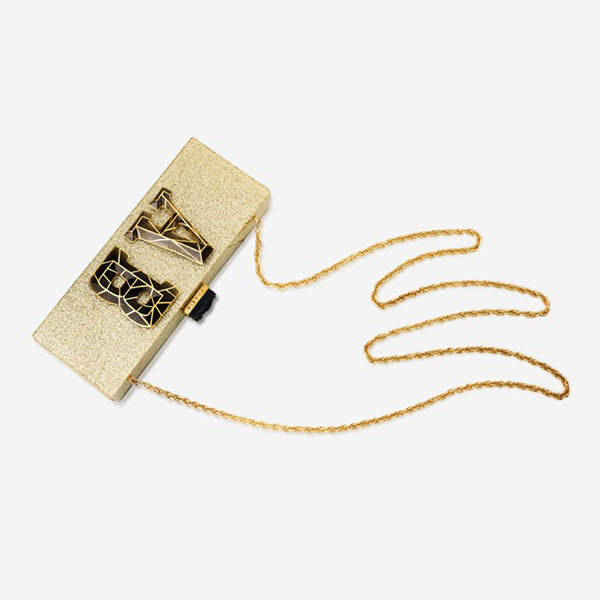 Modern-Indian-Jewelry-Fall-Date-Night_Personalized Clutch – 3D Lourve Lettering