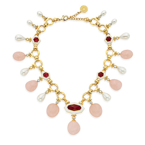 Modern Indian Jewelry Valentine's Day - Isharya - Borderless Pearl & Rose Quartz Statement Necklace