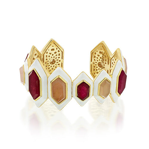 Modern Indian Jewelry Valentine's Day - Isharya - Borderless Pink Chalcedony & Quartz Statement Cuff