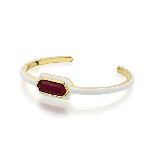 Modern Indian Jewelry Valentine's Day - Isharya - Borderless Pink Quartz Cuff