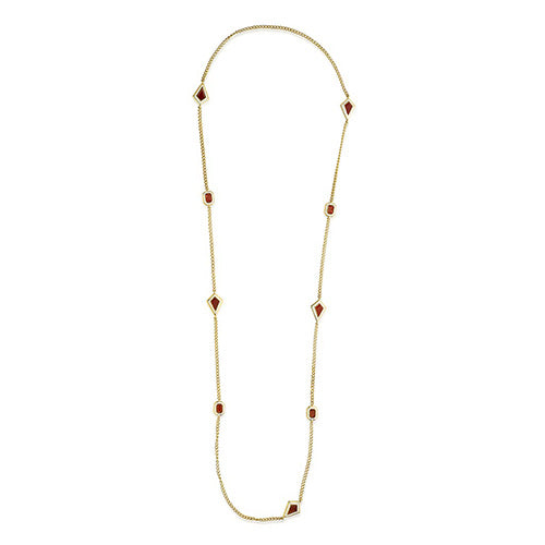 Modern Indian Jewelry Valentine's Day - Isharya - Borderless Red Onyx Long Chain Necklace