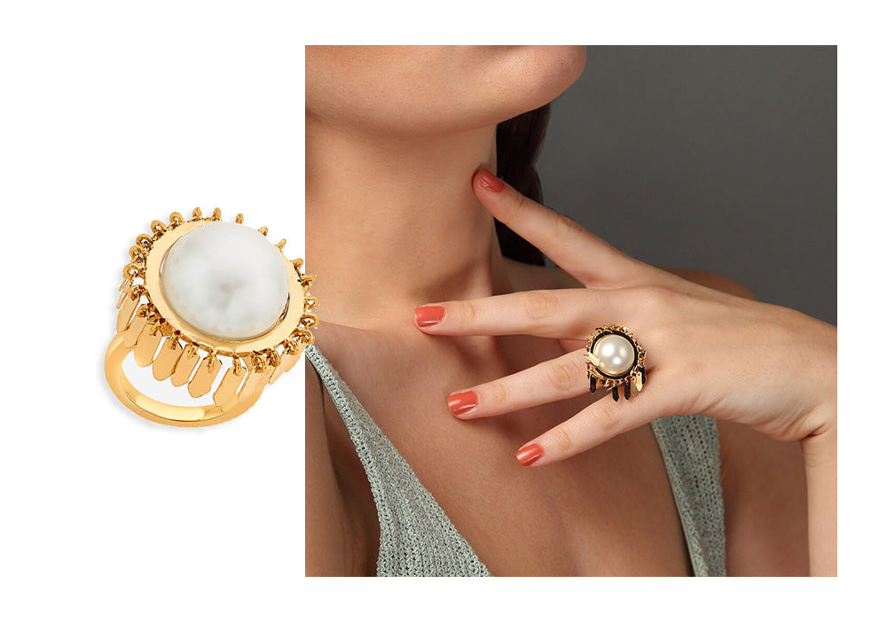 Noor Pearl Fringe Ring - Modern Cocktail Rings - 003
