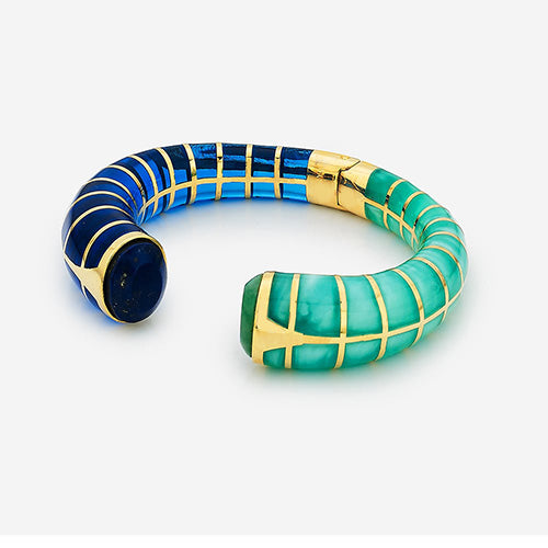Refresh-Modern-Indian-Jewelry-Wardrobe - Add color - Renaissance Rani Resin Oval Hinged Front open Blue & Amazonite Resin Cuff