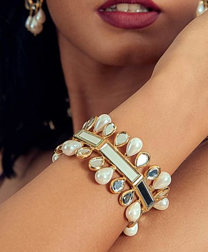 """""""Mirrors on the Move"""" Mirror and Pearl Statement Cuff"""