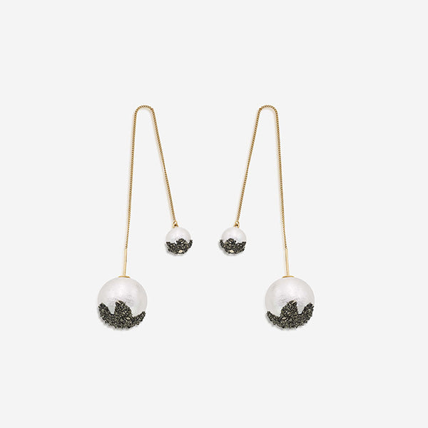 Statement Indian Earrings - drop - Fool's Gold Needle and Thread Earrings