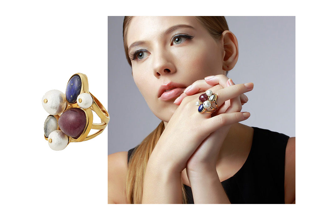 Temple Muse Gemstone and Pearl Statement Ring - Modern Cocktail Rings - 003