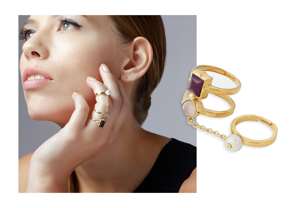 Temple Muse Marsala Quartz Chain Ring - Modern Cocktail Rings - 003