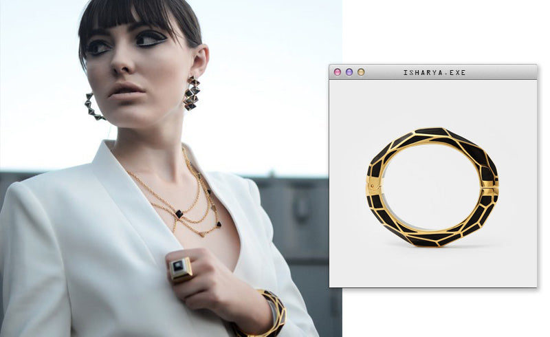 Virtual Meeting Style - Oversized Modern Indian Jewels - Isharya - Black Louvre Hinge Bangle-3