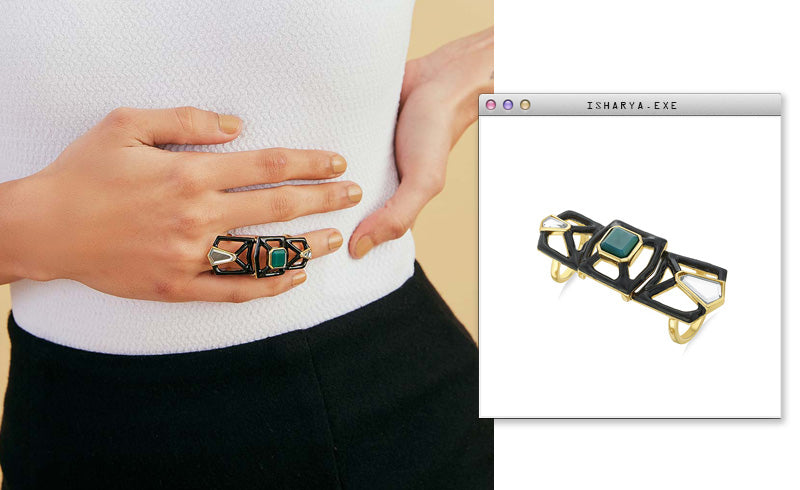 Virtual Meeting Style - Oversized Modern Indian Jewels - Isharya - Borderless Maleficent Statement Ring-3