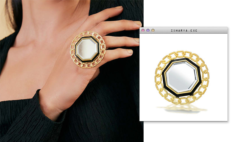 Virtual Meeting Style - Oversized Modern Indian Jewels - Isharya - Borderless Medallion Ring 3