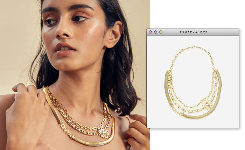Virtual Meeting Style - Oversized Modern Indian Jewels - Isharya - NOW DIY Multi layered Necklace-3
