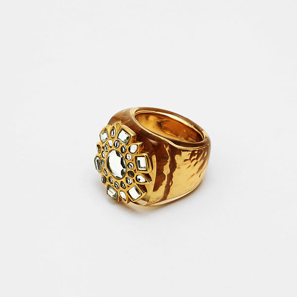 fall modern indian jewelry trends - cocktail hour - Gold Mirror Icon Resin Ring